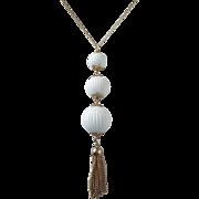 SALE Vintage Tiered White Balls Dangling Pendant Necklace