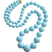 SALE Vintage Long Strand of Sky Blue Lucite Beaded Necklace
