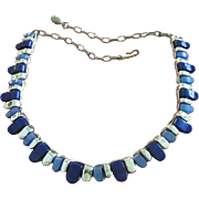 SALE Vintage Lucite Necklace in Midnight and Denim Blue, Silver Tone