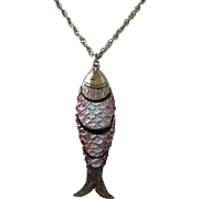 SALE Large Enamel and Gold Tone Articulating Fish Pendant Necklace