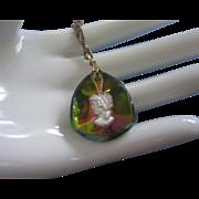 SALE Intaglio Cameo in Prismatic Glass Pendant Necklace