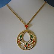 REDUCED Vintage Park Lane Enamel Flowers Pendant Necklace ~ REDUCED!