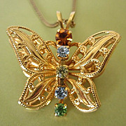 REDUCED Vintage Rhinestone Butterfly Necklace Pendant, Pin ~ REDUCED!!