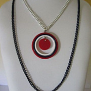 SALE Colorful Double Strand of Enamel Chains with Red, White & Blue Lucite Pendant Necklace