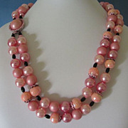 REDUCED Hong Kong Pink and Peach Beads Double Strand Necklace ~ REDUCED!