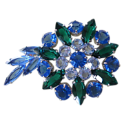 REDUCED Beautiful Sapphire and Emerald Green Rhinestone Brooch ~ REDUCED!