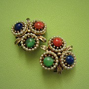 REDUCED Vintage ART Faux Stones and Pearls Earrings ~ REDUCED!