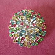REDUCED Vintage Enamel and Pastel Rhinestone Flower Pin Brooch ~ REDUCED!
