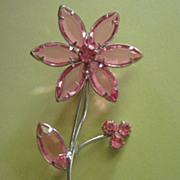Vintage Rose Colored Rhinestone Flower Pin Brooch