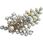 REDUCED Floral Spray of Faux Pearls and AB Rhinestones Pin Brooch ~ REDUCED!