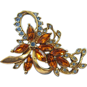 REDUCED KC Cascading Topaz and Light Sapphire Flower Pin Brooch ~ REDUCED!