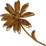 SALE Vintage Ochre Enamel with Chocolate Drizzle Flower Pin Brooch