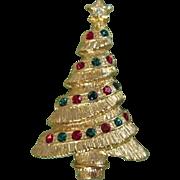 Rhinestone & Gold Tone Holiday Christmas Tree Pin
