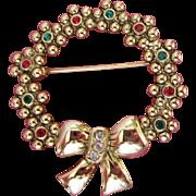 SALE Rhinestones Flowers Holiday Wreath Pin