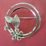 REDUCED Vintage Krementz Rhinestone Flower Pin Brooch ~ 50% OFF!