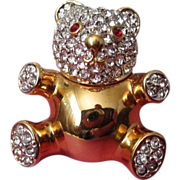 REDUCED Vintage Gold Tone, Rhinestone Teddy Bear Pin Brooch ~ REDUCED!!!