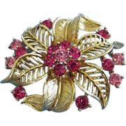 REDUCED Lisner Gold Tone Flower with Fuchsia, Pink Rhinestones Pin Brooch ~ REDUCED!