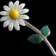 Slender Enamel Daisy Flower Pin