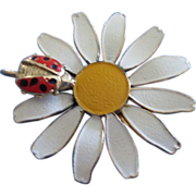 REDUCED Enamel Daisy Flower with Ladybug Pin ~ REDUCED!!