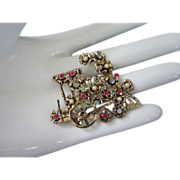 REDUCED Flowery Locomotive Pin with Rhinestones and Faux Pearls ~ REDUCED!