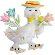 REDUCED Dapper Enamel Duck with Springtime Flowers Pin ~ REDUCED!