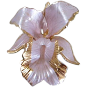 SALE Soft Lavender Enamel Orchid Flower Pin