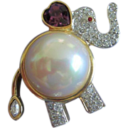 REDUCED Vintage Faux Pearl and Rhinestone Elephant Figural Pin ~ REDUCED!
