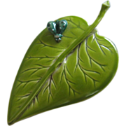 REDUCED Vintage Enamel Leaf with Small Bug Pin ~ REDUCED!