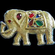 SALE Vintage Gold Tone and Rhinestone Elephant Pin Brooch