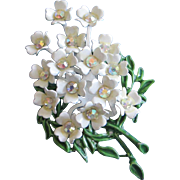 REDUCED White Enamel and AB Rhinestone Flower Bouquet Pin Brooch ~ REDUCED!