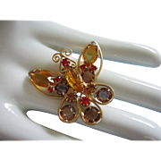 REDUCED Gorgeous Vintage Topaz and Hyacinth Orange Rhinestone Butterfly Pin ~ REDUCED!