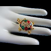 SALE Petite Enamel and Rhinestone Turtle Pin