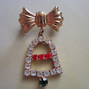 SALE Vintage Holiday Rhinestone Bell with Bow Pin Brooch