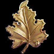 Sculptural Trifari Gold Tone Leaf Pin Brooch