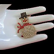 SALE Delightful Seasonal Rhinestone Snowman Figural Pin
