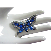 SALE Sapphire Blue Rhinestone Butterfly Pin