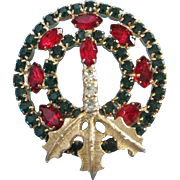 REDUCED Emerald Green and Ruby Red Rhinestone Christmas, Holiday Wreath Pin ~ REDUCED!