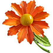 SALE Colorful Vintage Tangerine and Yellow Enamel Flower Pin
