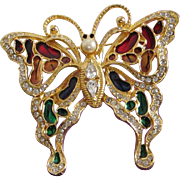 SALE Large and Glorious Enamel and Rhinestone Butterfly Figural Pin