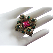 Fuchsia and Emerald Green Rhinestones, Brass Filigree Pin Brooch