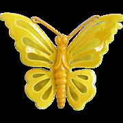 SALE Vintage Yellow Enamel Butterfly Pin Brooch