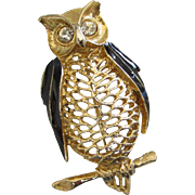 REDUCED Vintage Openwork Gold Tone and Enamel Owl Pin Brooch ~ REDUCED!