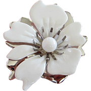 SALE Sarah Coventry White Enamel, Silver Tone Flower Pin Brooch