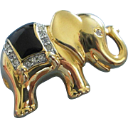SALE Petite Gold Tone Elephant Pin with Enamel and Rhinestones