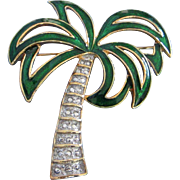 SALE Vintage Enamel and Faux Marcasite Palm Tree Pin Brooch
