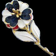 Red, White and Blue Enamel Flower, Patriotic Rose