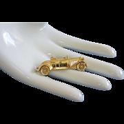 SALE Trifari Roadster Vintage Automobile, Car Pin Gold Tone
