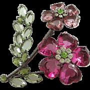 Fabulous Fuchsia and Rose Rhinestone Flower Pin Brooch