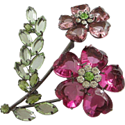 REDUCED Fabulous Fuchsia and Rose Rhinestone Flower Pin Brooch ~ REDUCED!!
