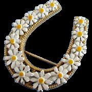 SALE Vintage Enamel Daisy Flowers Good Luck Horseshoe Pin